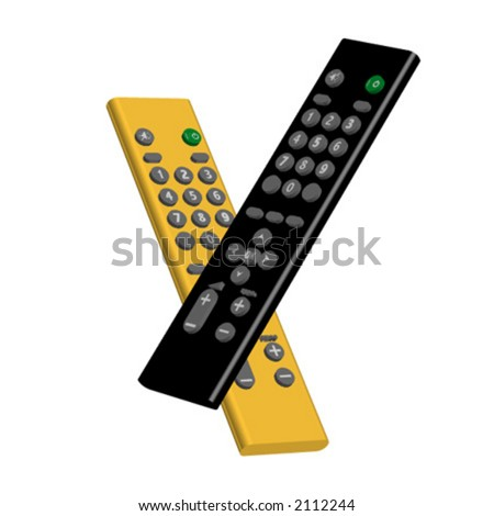 Black and yellow remote controls - stock vector