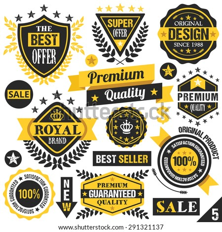 Black and yellow stickers badges labels and ribbons set 5