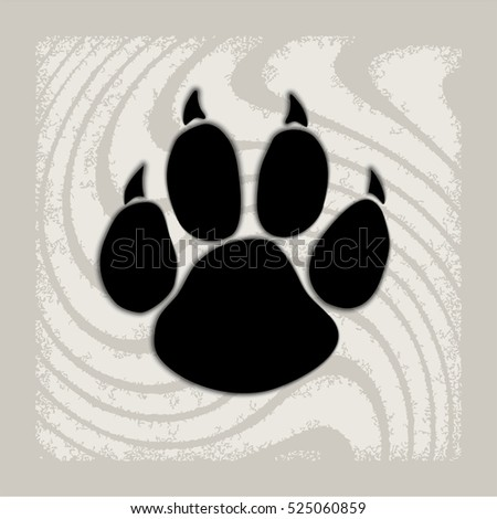 Black animal paw print isolated on pattern, vector illustration. Paw icon with shadow on a creative background.