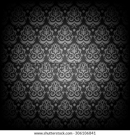 Black antique seamless vector pattern. - stock vector