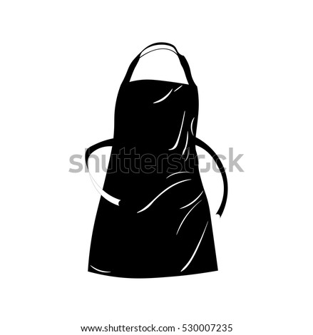 Black apron with outsets and pocket. Vector Illustration Isolated On White Background.