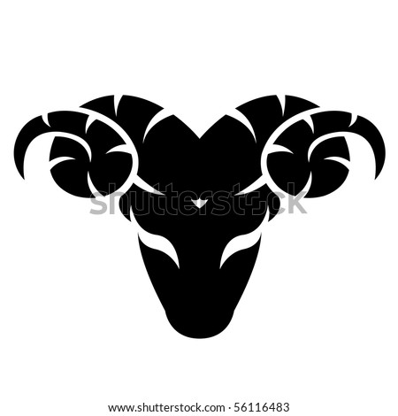 Black aries isolated on white - stock vector