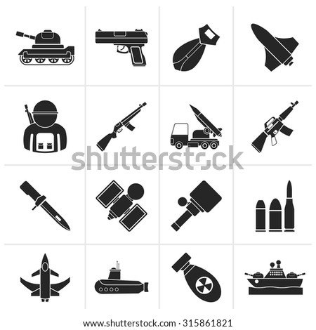 Black Army, weapon and arms Icons - vector icon set - stock vector