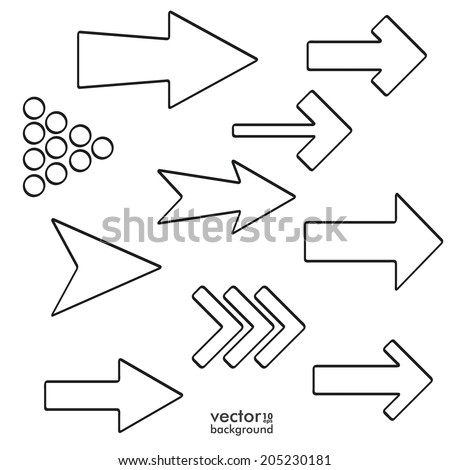Black arrows on the white background. Eps 10 vector file. - stock vector