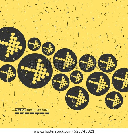 Black arrows on yellow grunge background, retro pattern with decorative shapes, vector illustration.