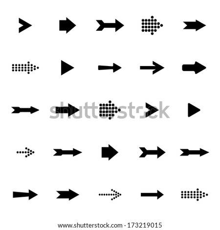 Black arrows vector set on a white background - stock vector