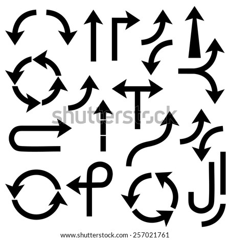 Black arrows - vector set. Vector illustration - stock vector