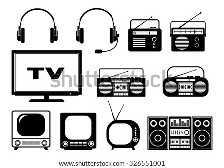 Black audio and TV icons on white background  - stock vector