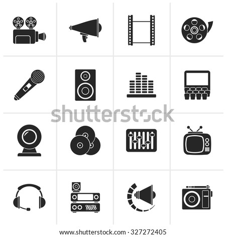 Black Audio and video icons - vector icon set