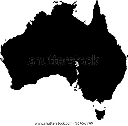 Black Australia map with region borders - stock vector