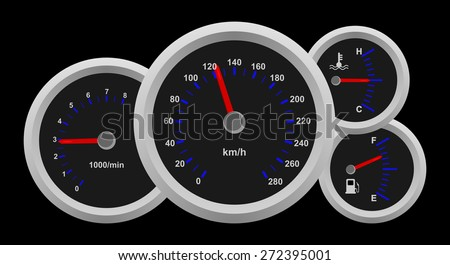 Black auto dash board, speedometer interface icons. Speed, power and / or fuel gauge meter. Realistic design of sport car dashboard with red arrow. Vector art image illustration isolated on background - stock vector