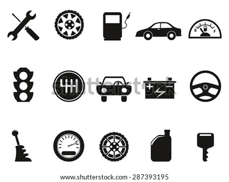 black auto icons set - stock vector