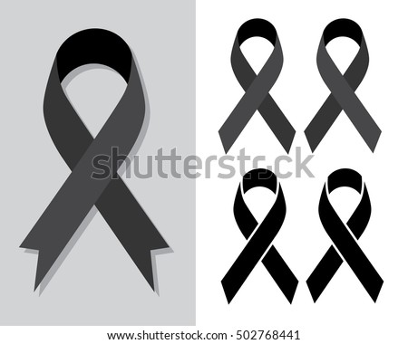 Black awareness ribbon, Mourning and melanoma symbol