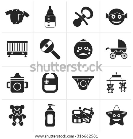 Black Baby, children and toys icons - vector icon set - stock vector