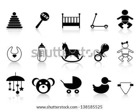 black baby icons set - stock vector