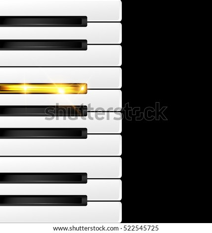 black background and abstract black-white and golden piano keys