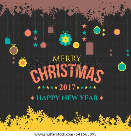 Black Background 2017 Happy New Year Celebration Design. Greeting Card Design, Hanging Christmas Elements, Flyer, Poster, Web Banner Template. Vector Sketch Style Postcard