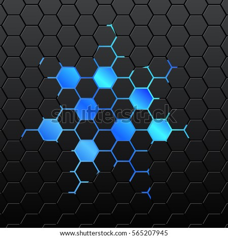 Honeycomb background stock images royalty free images vectors black background of hexagonal mosaic blue hexagon in the center voltagebd Image collections
