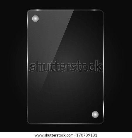 black background, the glass frame with rivets - stock vector