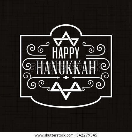 Black background with a label with text for hanukkah celebrations - stock vector