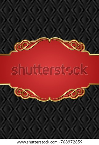 black background with antique frame and golden border