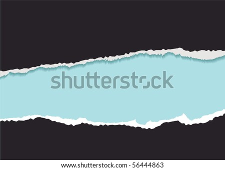 Black background with blue copyspace and torn paper edge - stock vector
