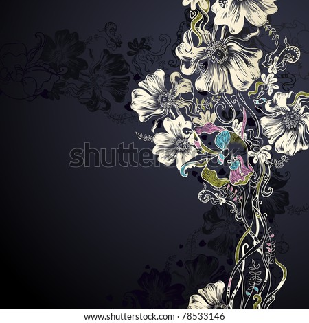 black background with decorative flowers - stock vector