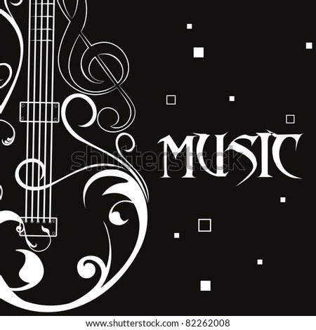 black background with floral design guitar, illustration - stock vector