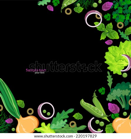 black background with fresh herbs - stock vector