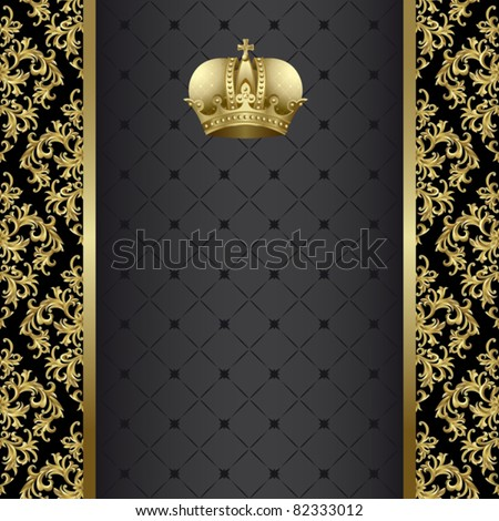Black background with  gold abstract plant and crown - stock vector