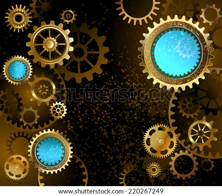 black background with gold and brass gears and blue lenses. - stock vector
