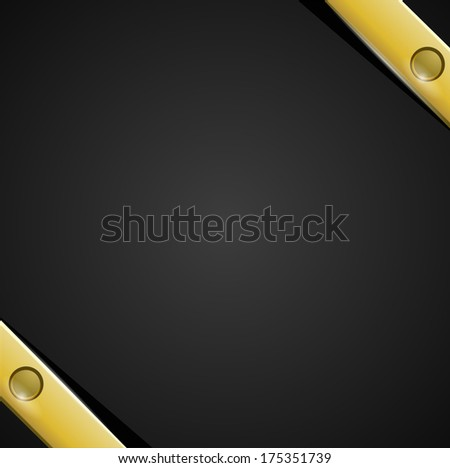 Black background with gold bands - stock vector