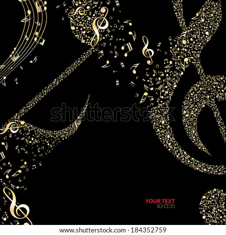 black background with gold notes