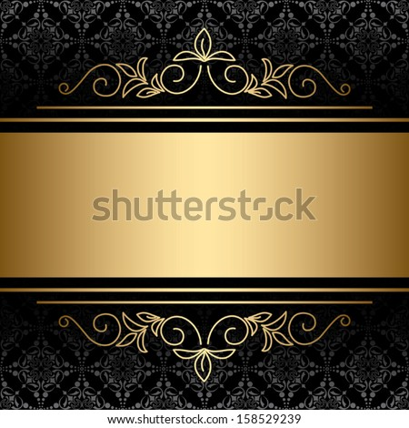 black background with golden decorations - vector. Eps 8. - stock vector