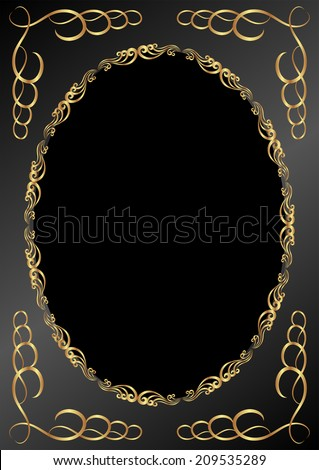 black background with golden frame - stock vector