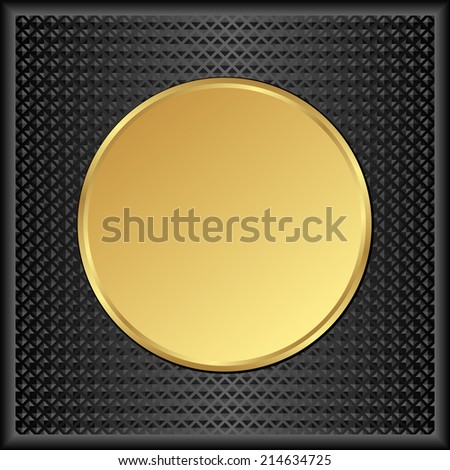black background with round golden banner - stock vector