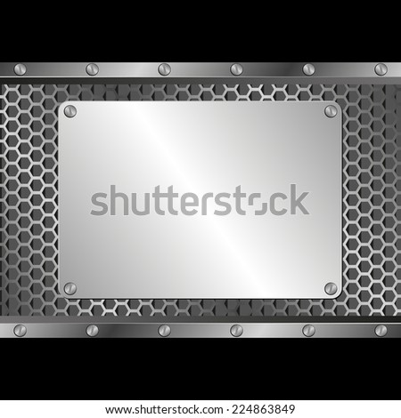 black background with silver plaque - stock vector