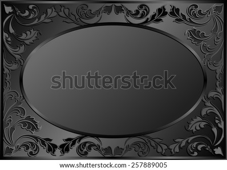 black background with vintage frame - stock vector