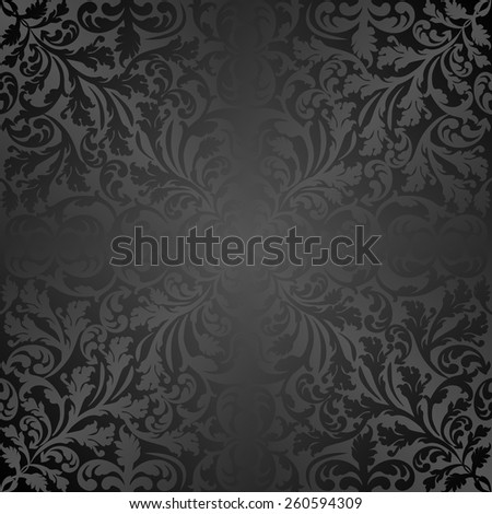 black background with vintage pattern - stock vector
