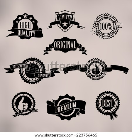 Black badges and ribbons on vintage background - stock vector