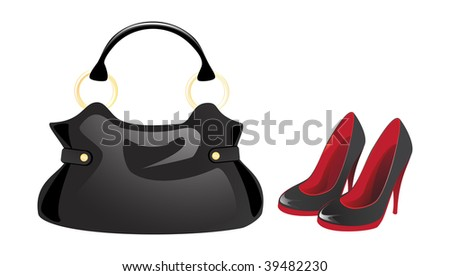 Black bag and shoes - stock vector