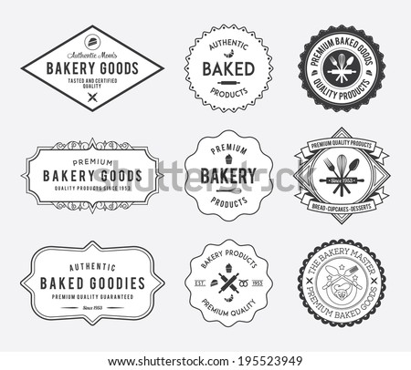 Black bakery badges on white background - stock vector