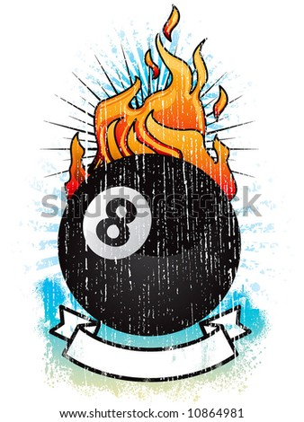 black ball on fire - stock vector