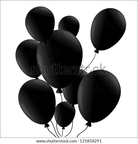 black balloon isolated - stock vector