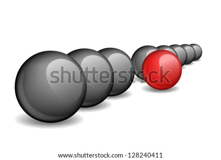 Black balls with one red ball standing ahead the rest. Vector illustration. - stock vector