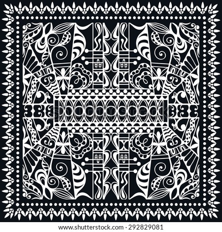 Frame with an embossed pattern in the rococo style stock illustration - Black Bandana Print Stock Vector 272284562 Shutterstock