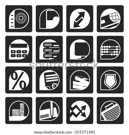 Black bank, business, finance and office icons - vector icon set - stock vector