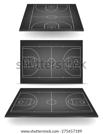 Black basketball court with perspective. Vector EPS10 illustration.  - stock vector