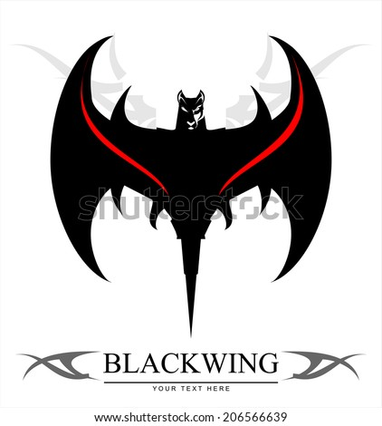 Black Bat. Stylized Bat over the tribal ornament. Symbolizing the power, protection,  etc. Suitable for team Mascot , community identity, product identity, illustration for apparel, clothing, etc. - stock vector