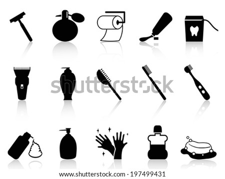 Black bathroom accessories icon set - stock vector